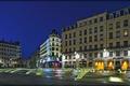 Картинка ночь, огни, Франция, дома, площадь, фонари, фонтаны
