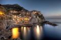 Картинка Италия, дома, Liguria, побережье, бухта, огни, море