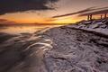 Картинка зима, море, закат, берег