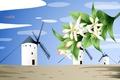Картинка цветы, путешествия, мельница, Испания, туризм, страна, Spain
