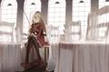 Картинка девушка, скрипка, окна, стулья, арт, зал, вуаль