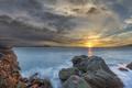 Картинка отражение, море, вода, восход, солнце, небо, скалы