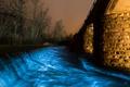 Картинка свет, ночь, мост, огни, река, поток, опора