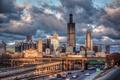 Картинка США, ж/д дорога, Иллинойс, город, Illinois, Chicago, небоскребы