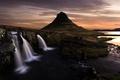 Картинка закат, пейзаж, природа, водопад
