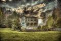 Картинка House, Clouds, Sky, Trees, Scenic, Fountain, Balcony
