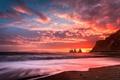 Картинка море, волны, небо, облака, скалы, рассвет, берег