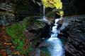 Картинка мост, река, скалы, водопад, ущелье
