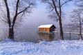 Картинка зима, снег, деревья, туман, озеро, причал, домик