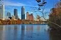 Картинка осень, небо, мост, река, небоскреб, дома, США