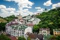 Картинка небо, облака, деревья, дома, Украина, Киев, Андреевская церковь