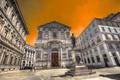 Картинка небо, дома, площадь, Италия, памятник, Милан
