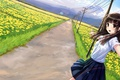 Картинка девушка, лэп, kazuharu kina, форма, полевые, дорога, арт