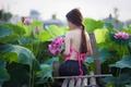 Картинка девушка, природа, настроение, лилии