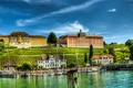 Картинка озеро, берег, дома, яхты, Германия, причал, склон
