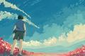 Картинка облака, цветы, птицы, шорты, спина, мальчик, рубашка