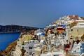 Картинка остров, дома, Греция, склон