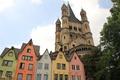 Картинка небо, замок, башня, дома, Германия, Кельн