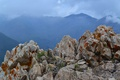 Картинка небо, облака, горы, туман, камни, скалы