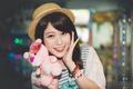 Картинка улыбка, игрушка, розовая пантера, восточная девушка