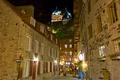 Картинка ночь, огни, улица, дома, Канада, Квебек, замок Фронтенак