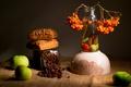 Картинка яблоки, кофе, рябина, булочки