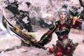 Картинка девушка, деревья, меч, сад, сакура, lol, League of Legends