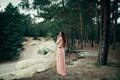 Картинка лес, девушка, платье