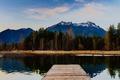 Картинка небо, облака, деревья, горы, отражение, зеркало, Вашингтон