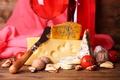Картинка сыр, нож, орехи, помидоры