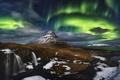 Картинка ночь, гора, северное сияние, вулкан, Исландия, Kirkjufell