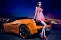 Картинка машина, авто, девушка, модель, азиатка, автомобиль, Lamborghini Gallardo