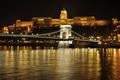 Картинка река, Дунай, Будапешт, дворец, ночь, Венгрия, огни