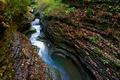 Картинка поток, река, скалы, ущелье, водопад