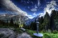 Картинка облака, деревья, горы, вид, Австрия, долина, hdr