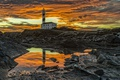Картинка закат, берег, маяк