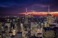 Картинка City, Clouds, Sky, Purple, New York, Night, Empire State Building