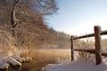 Картинка снег, река, забор
