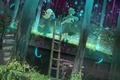Картинка лес, трава, деревья, природа, аниме, арт, лестница