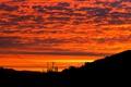 Картинка небо, облака, закат, природа, провода, столб, зарево