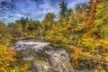 Картинка осень, лес, ручей, течение, водопад, HDR, Шотландия