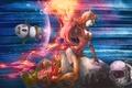 Картинка World of Warcraft, схватка, эльфийка крови, пандарены
