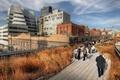 Картинка осень, небо, пейзаж, люди, дома, hdr, тротуар