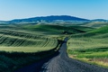Картинка ферма, зеленый, горы, поле, дорога, небо, автобус