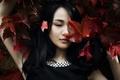 Картинка листья, девушка, портрет