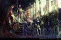 Картинка оружие, девушки, крылья, аниме, арт, собор, мечи