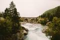 Картинка bridge, pine, fog, river, hill, rainy, stones