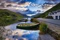 Картинка Лодка, река, облака