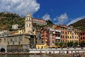 Картинка башня, Лигурийское побережье, Италия, дома, Вернацца, скалы, Чинкве-Терре