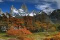 Картинка небо, облака, снег, деревья, горы, Аргентина, Патагония